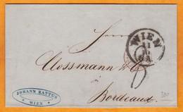 1858 - LAC En Allemand De 2 P De Wien Vienne Vers Bordeaux Via Paris - Convoyeur - Cad Transit & Arrivée - 1850-1918 Imperium