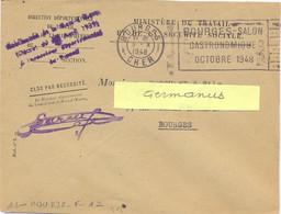 BOURGES CHER OMec FLIER 8.X 1948 BOURGES-SALON / GASTRONOMIQUE / OCTOBRE 1948 – En-tête DIRECTION DÉPARTEMENTALE - Sellados Mecánicos (Publicitario)