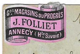 """Carte Commerciale 1897 / Entier / L. FOLLIET / """"Grands Magasins Du Progrès"""" / 74 Annecy / Vignette + Cachet Convoyeur - Autres"""
