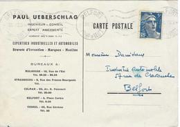"""Carte Commerciale 1947 / Paul UEBERSCHLAG / Expertises Automobiles / Création Auto """"Adler""""/ 90 Belfort - Autres"""