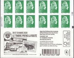 """CARNET 1598-C 11a Marianne D' YSEULT YZ """"LE TIMBRE PREND LA ROUTE"""" Avec Carré Noir. A Saisir. - Uso Corrente"""