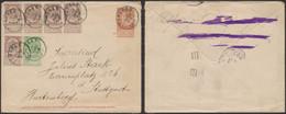 EP Au Type Env. 10ctm Orange Fine Barbe + N°55 X5 (2 Paires) Et 56, De Tongres (1895) > Stuttgart (Allemagne) - Covers