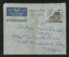 Qatar 1969 Air Mail Postal Used Aerogramme Cover Qatar To Pakistan - Qatar
