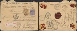 émission 1884 - N°47 Et 50 Sur Lettre En Recommandé (double Port) De Gand (1892) > Paris, Suivi à Evergem (B) Et Enfin - 1884-1891 Leopold II