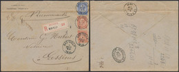Fine Barbe - N°57x2 + 60 Sur Lettre En Recommandé (23g, 2 Port) De Bas-Silly (1895) > Lessines. - 1893-1800 Fijne Baard