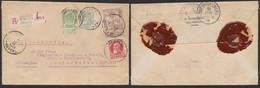 Affranch. Mixte (FB, GB, Caritas) çàd N°56, 74, 78 Et 85 Sur Lettre En Recommandé De Anvers (1911) > Allemagne. - 1905 Grove Baard