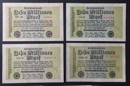 Lot Banknoten Reichsbanknoten 10 Millionen Mark 1923 4 Varianten Deutschland Germany Erhaltung Siehe Scans - [ 3] 1918-1933: Weimarrepubliek