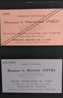 Cartons D'invitation Aux Obsèques Nationales Du Maréchal Foch - Overlijden