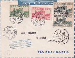 TUNISIE / CHINE - 1947 - ENVELOPPE OUVERTURE DE LA LIGNE AERIENNE PARIS à SHANGHAI (CHINA) - ESCALE DE TUNIS - 1927-1959 Lettres & Documents