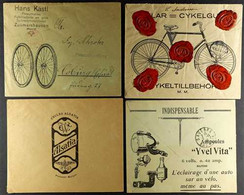 CYCLING  ILLUSTRATED ADVERT COVERS 1921-1936 Interesting Group Of Used Printed Covers With Nice Illustrated Cycle Advert - Unclassified
