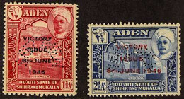 """HADHRAMAUT  1946 Victory Complete Set Perf """"SPECIMEN"""", SG 12a/13a, Never Hinged Mint. (2 Stamps) For More Images, Please - Aden (1854-1963)"""