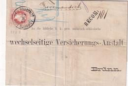 AUTRIHE 1881 LETTRE RECOMMANDEE DE NEU RAUSSNITZ AVEC CACHET ARRIVEE BRÜNN - 1850-1918 Imperium