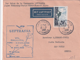 LUFTHANSA - 1956 - ENVELOPPE 1° VOL PARIS => BUENOS AIRES Via DAKAR,RIO ET SAO PAULO (BRESIL) - 1927-1959 Lettres & Documents