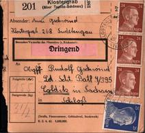 ! 1943 Klostergrab über Teplitz-Schönau, Sudetengau Nach Colditz, Paketkarte, Deutsches Reich, 3. Reich - Covers & Documents