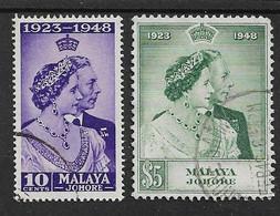 MALAYA - JOHORE 1948 SILVER WEDDING SET SG 131/132 FINE USED Cat £50+ - Johore