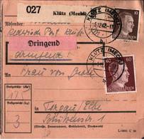 ! 1942 Klütz In Mecklenburg Nach Torgau, Paketkarte, Deutsches Reich, 3. Reich - Covers & Documents