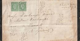 1872 - LAC De PARIS Pour TARDETS CACHET PARIS / Bd MALESHERBES Sur Paire N°20 - 1849-1876: Klassik
