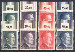 799-802A+B Hitler Markwerte In Zähnung A Und B Mit Oberrand, 8 Werte ** - Ohne Zuordnung