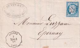 1874 - CONVOYEUR STATION De LOIVRE LIGNE TERGNIER à REIMS Sur LETTRE De COURCY (HAUTE MARNE) => EPERNAY - 1849-1876: Periodo Classico