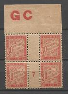 FRANCE TAXE ANNEE 1893/1935 N°33 BLOC DE 4 EX  NEUFS* MH MILLESIME 7 +MANCHETTE GC TB COTE 36 € REMISE-90% - 1859-1955 Mint/hinged
