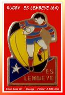 SUPER PIN'S RUGBY : Etoile Sportive De LEMBEYE, Nouvelle Aquitaine, émail Base Or + Glaçage, Format 2,5X1,6cm - Rugby