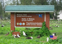 Midway Atoll  Battle Memorial Sign New Postcard - Midway
