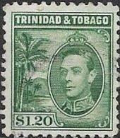TRINIDAD AND TOBAGO 1938 King George VI - $1.20 - Green FU - Trinidad & Tobago (...-1961)