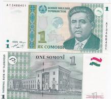Tajikistan - 1 Somoni 2010 ( 1999 ) UNC Pick 14A Green Globe Lemberg-Zp - Tajikistan