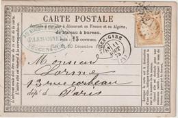 Seine Inférieure N°55 GC + T17 Rouen-Gare  1875 / CP Précurseur - 1849-1876: Période Classique