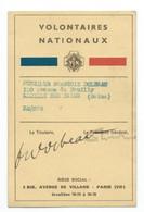 VOLONTAIRES NATIONAUX  Carte De Membre 1936 - 1939-45