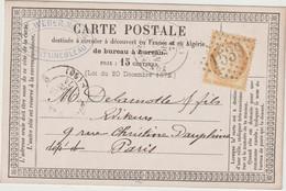 Seine Et Marne N°55 GC + T17 Fontainebleau  1874 / CP Précurseur - 1849-1876: Periodo Classico
