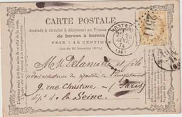 Indre Et Loire N°59 GC + T17 Montrésor  1874 / CP Précurseur - 1849-1876: Periodo Classico