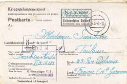 KRIEGSGELANGENENPOST  M Stammlager VI  J  Vers  Toulouse  RV - Otros