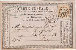 Aisne N°55  GC + T17 Saint Quentin 1875 / CP Précurseur - 1849-1876: Klassieke Periode
