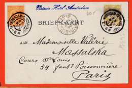 VaQ015 AMSTERDAM Noord-Holland Profil H.M Koningin WILHELMINA 1898 à Valérie MASSALSKA 54 Faubourg Poissonniere Paris - Amsterdam