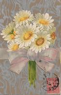 L220A100 - Bouquet De Marguerites Sur Fond Argenté - Carte Gauffrée - Flowers