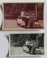 2 Photographies Anciennes Homme Sur Un Scooter Vespa Marque à Identifier Immatriculation 888-AF 50 Normandie - Other