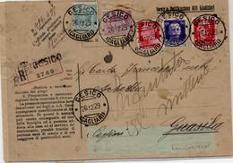 Busta Raccomandata Con 5 Cent + 20 Cent + 20 Cent + 50 Cent + 2 Lire Spedita Ne 1929 - Marcofilía