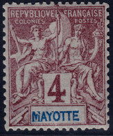 ✔️ Mayotte 1892/1899 - Mouchon Groupé - Yv. 3 ** MNH - Nuevos