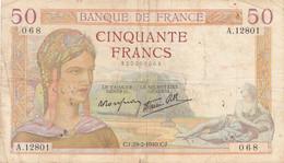 CINQUANTE Francs      50 F     CJ.29-2-1940.CJ - 50 F 1934-1940 ''Cérès''