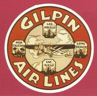 AUTOCOLLANT ADHÉSIF STICKER - AVION PLANE - COMPAGNIE AÉRIENNE GILPIN AIR LINES - AIRLINE COMPANY - COMPAÑÍA AÉREA - Autocollants