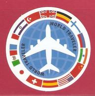 AUTOCOLLANT ADHÉSIF STICKER - AVION PLANE - COMPAGNIE AÉRIENNE WORLD TRAVELER - AIRLINE COMPANY - COMPAÑÍA AÉREA - Autocollants