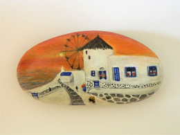 Original Painting Of A Greek Windmill Scene Hand Painted On A Beach Stone Paperweight - Fermacarte