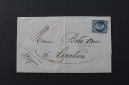 1864,LAC PARIS POUR ESPALION ETOILE 5 CAD DU 18/02/1864 Y&T NO 22 CAD ARRIVEE ESPALION DU 20/02/1864 TB.. - 1849-1876: Période Classique