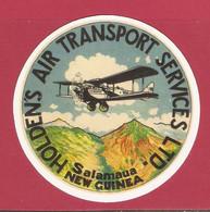 AUTOCOLLANT ADHÉSIF STICKER - AVION PLANE - COMPAGNIE AÉRIENNE HOLDEN'S AIR TRANSPORT SERVICES SALAMAUA NEW GUINEA - Autocollants