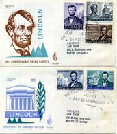 1959 SAN MARINO FDC Anniversario Lincoln - FDC