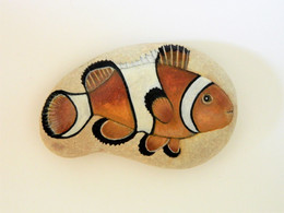 Original Painting Of A Clown Fish Hand Painted On A Smooth Beach Stone Paperweight - Briefbeschwerer