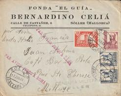 Espagne Lettre Censurée Mallorca Pour La France Via Roma 1938 - 1931-50 Cartas