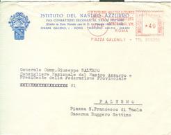 ISTITUTO NASTRO AZZURRO COMBATTENTI DECORATI AL V.M.,ROMA, TIMBRO ROSSO £.40, 1967,ROMA -PALERMO - Affrancature Meccaniche Rosse (EMA)