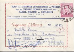 REF2058/TP 1069 Baudouin Lunettes S/Lidkaart 156f Leerlingen Oud+Vrienden Technisch Instituut Oostende C.Oostende 9/3/65 - Belgium
